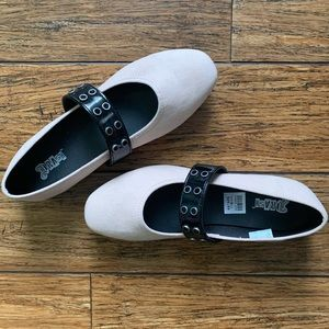Blush Off White and Black Single Strap Suede Flats